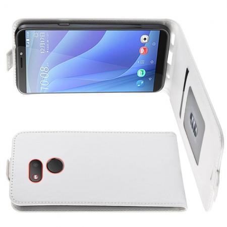Вертикальный флип чехол книжка с откидыванием вниз для HTC Desire 12s - Белый
