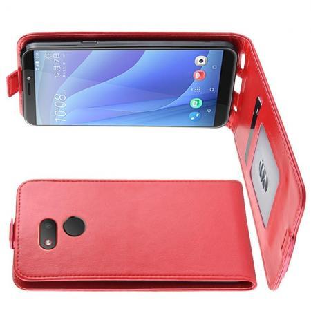 Вертикальный флип чехол книжка с откидыванием вниз для HTC Desire 12s - Красный