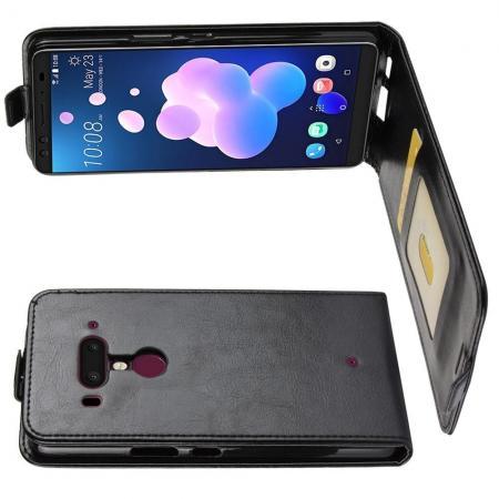 Вертикальный флип чехол книжка с откидыванием вниз для HTC U12+ - Черный