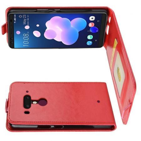 Вертикальный флип чехол книжка с откидыванием вниз для HTC U12+ - Красный
