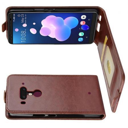 Вертикальный флип чехол книжка с откидыванием вниз для HTC U12+ - Коричневый
