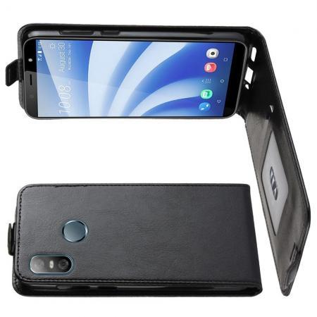 Вертикальный флип чехол книжка с откидыванием вниз для HTC U12 life - Черный
