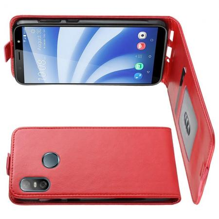 Вертикальный флип чехол книжка с откидыванием вниз для HTC U12 life - Красный