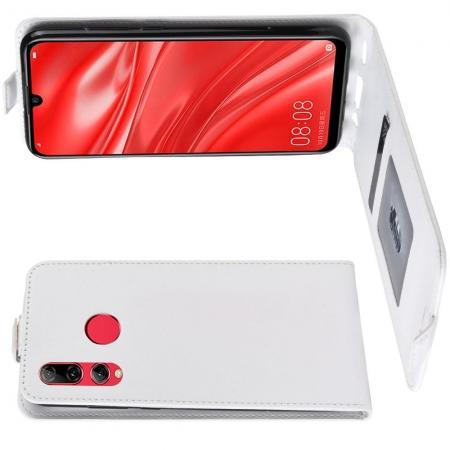 Вертикальный флип чехол книжка с откидыванием вниз для Huawei Honor 10i - Белый