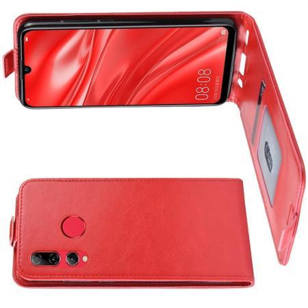Вертикальный флип чехол книжка с откидыванием вниз для Huawei Honor 10i - Красный