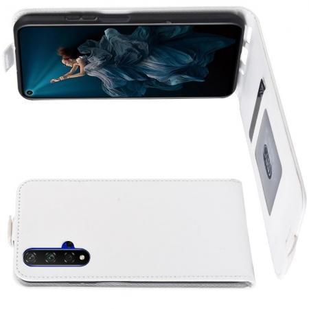 Вертикальный флип чехол книжка с откидыванием вниз для Huawei Honor 20 - Белый