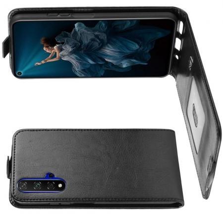Вертикальный флип чехол книжка с откидыванием вниз для Huawei Honor 20 - Черный