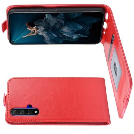 Вертикальный флип чехол книжка с откидыванием вниз для Huawei Nova 5T - Красный