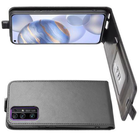 Вертикальный флип чехол книжка с откидыванием вниз для Huawei Honor 30 - Черный