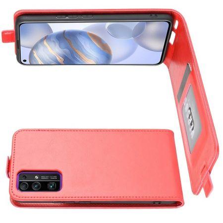 Вертикальный флип чехол книжка с откидыванием вниз для Huawei Honor 30 - Красный