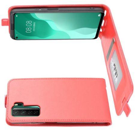 Вертикальный флип чехол книжка с откидыванием вниз для Huawei Honor 30S - Красный