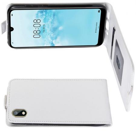 Вертикальный флип чехол книжка с откидыванием вниз для Huawei Honor 8S / Y5 2019 - Белый
