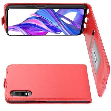 Вертикальный флип чехол книжка с откидыванием вниз для Huawei Honor 9X Pro / Honor 9X - Красный