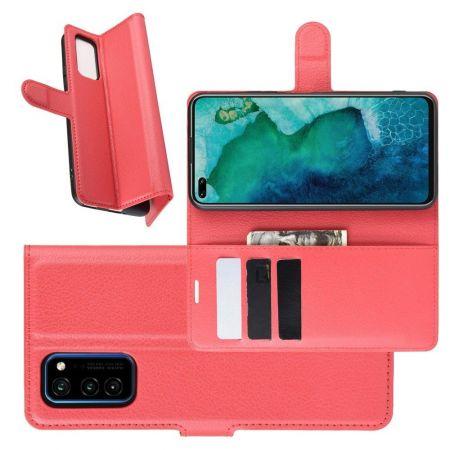 Вертикальный флип чехол книжка с откидыванием вниз для Huawei Honor View 30 / View 30 Pro / 30 Pro - Красный