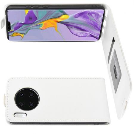 Вертикальный флип чехол книжка с откидыванием вниз для Huawei Mate 30 - Белый
