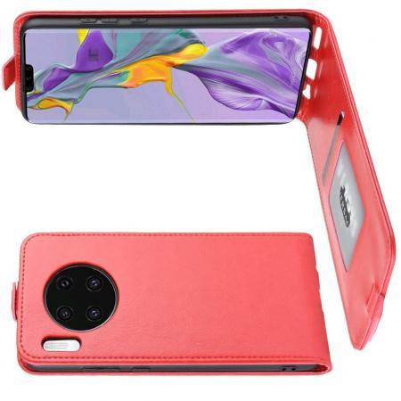 Вертикальный флип чехол книжка с откидыванием вниз для Huawei Mate 30 - Красный