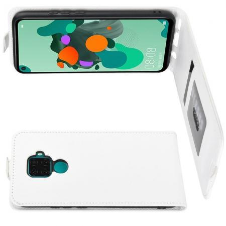 Вертикальный флип чехол книжка с откидыванием вниз для Huawei Mate 30 Lite - Белый