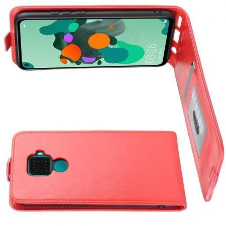 Вертикальный флип чехол книжка с откидыванием вниз для Huawei Mate 30 Lite - Красный