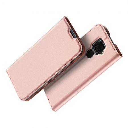 Вертикальный флип чехол книжка с откидыванием вниз для Huawei Mate 30 Lite - Розовый