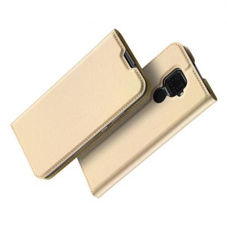 Вертикальный флип чехол книжка с откидыванием вниз для Huawei Mate 30 Lite - Золотой