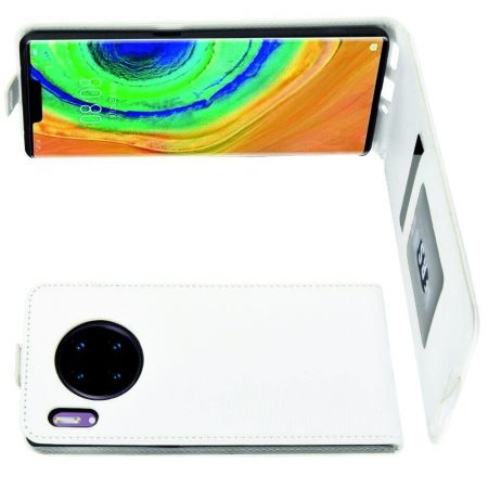 Вертикальный флип чехол книжка с откидыванием вниз для Huawei Mate 30 Pro - Белый