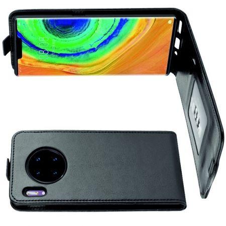 Вертикальный флип чехол книжка с откидыванием вниз для Huawei Mate 30 Pro - Черный
