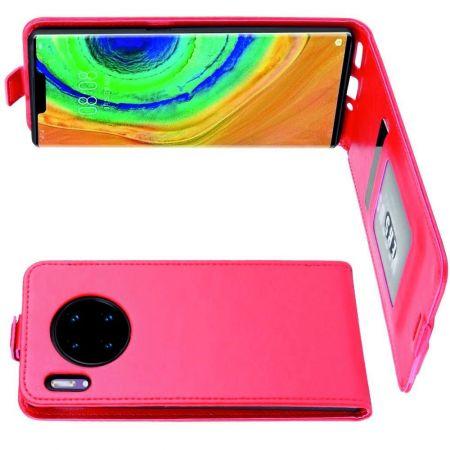 Вертикальный флип чехол книжка с откидыванием вниз для Huawei Mate 30 Pro - Красный