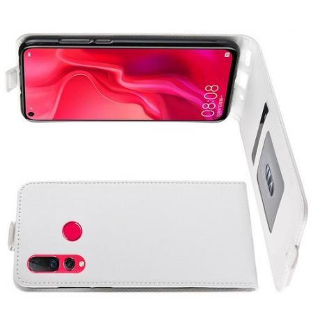 Вертикальный флип чехол книжка с откидыванием вниз для Huawei Nova 4 - Белый