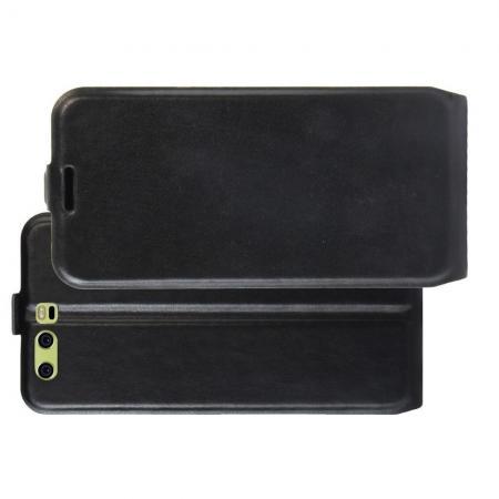 Вертикальный флип чехол книжка с откидыванием вниз для Huawei P10 Plus - Черный