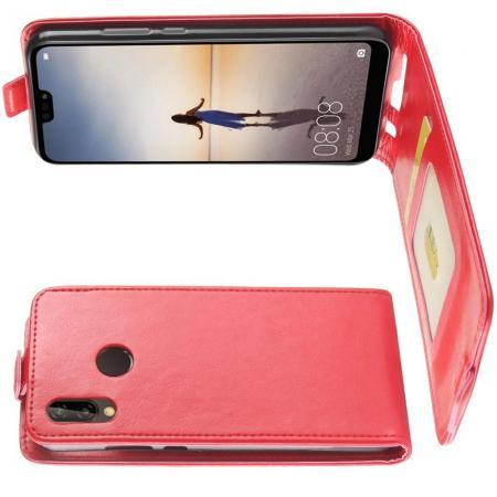 Вертикальный флип чехол книжка с откидыванием вниз для Huawei P20 lite - Красный