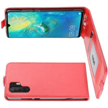 Вертикальный флип чехол книжка с откидыванием вниз для Huawei P30 Pro - Красный