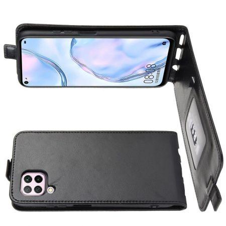 Вертикальный флип чехол книжка с откидыванием вниз для Huawei P40 Lite - Черный