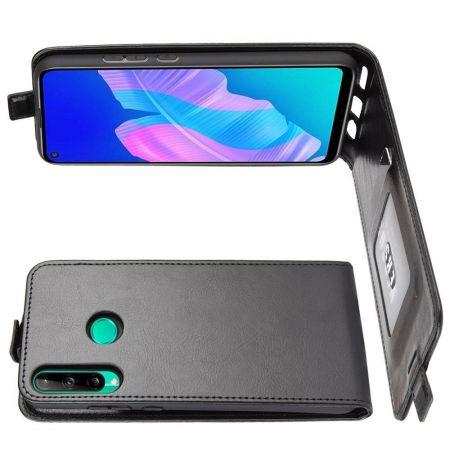 Вертикальный флип чехол книжка с откидыванием вниз для Huawei P40 lite E - Черный