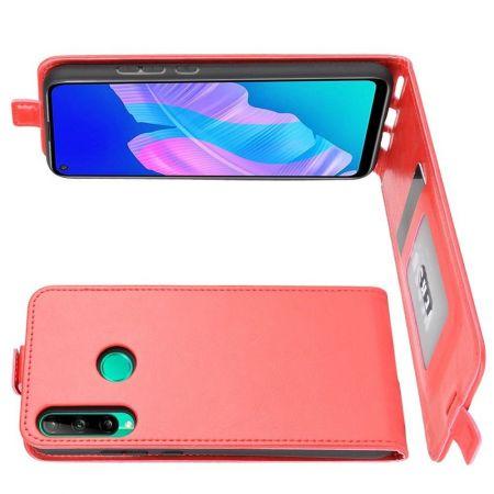 Вертикальный флип чехол книжка с откидыванием вниз для Huawei P40 lite E - Красный