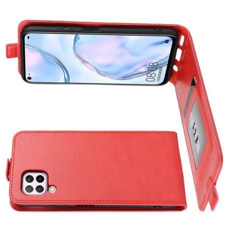 Вертикальный флип чехол книжка с откидыванием вниз для Huawei P40 Lite - Красный