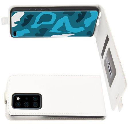 Вертикальный флип чехол книжка с откидыванием вниз для Huawei P40 Pro - Белый