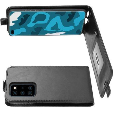 Вертикальный флип чехол книжка с откидыванием вниз для Huawei P40 Pro - Черный