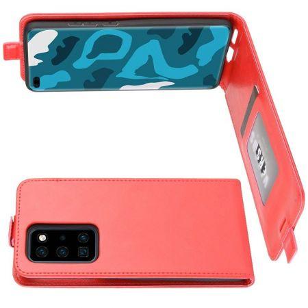 Вертикальный флип чехол книжка с откидыванием вниз для Huawei P40 Pro - Красный