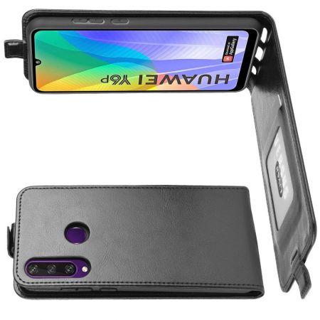 Вертикальный флип чехол книжка с откидыванием вниз для Huawei Y6p - Черный