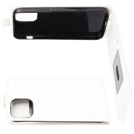 Вертикальный флип чехол книжка с откидыванием вниз для iPhone 12 / 12 Pro - Белый