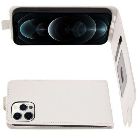 Вертикальный флип чехол книжка с откидыванием вниз для iPhone 12 Pro Max - Белый