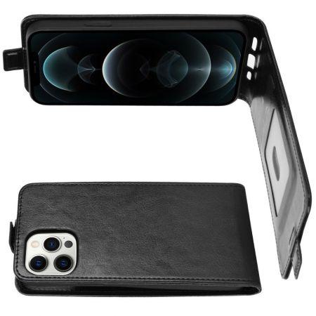 Вертикальный флип чехол книжка с откидыванием вниз для iPhone 12 Pro Max - Черный