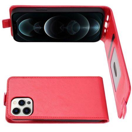 Вертикальный флип чехол книжка с откидыванием вниз для iPhone 12 Pro Max - Красный