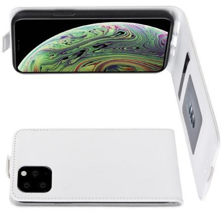 Вертикальный флип чехол книжка с откидыванием вниз для iPhone 11 Pro - Белый