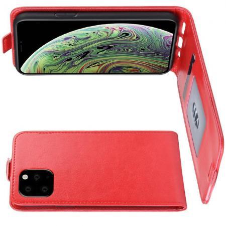 Вертикальный флип чехол книжка с откидыванием вниз для iPhone 11 Pro - Красный