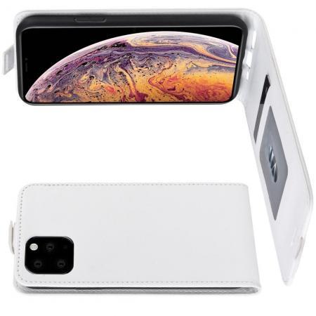 Вертикальный флип чехол книжка с откидыванием вниз для iPhone XI Max - Белый