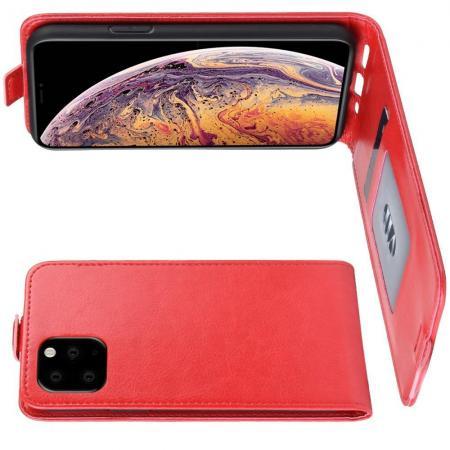 Вертикальный флип чехол книжка с откидыванием вниз для iPhone XI Max - Красный