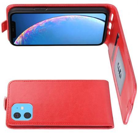 Вертикальный флип чехол книжка с откидыванием вниз для iPhone 11 - Красный