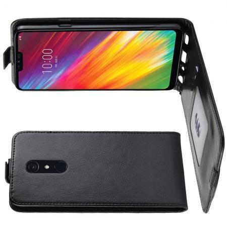 Вертикальный флип чехол книжка с откидыванием вниз для LG G7 Fit - Черный