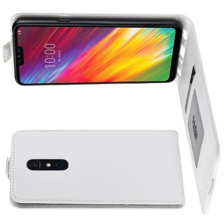 Вертикальный флип чехол книжка с откидыванием вниз для LG G7 Fit - Белый